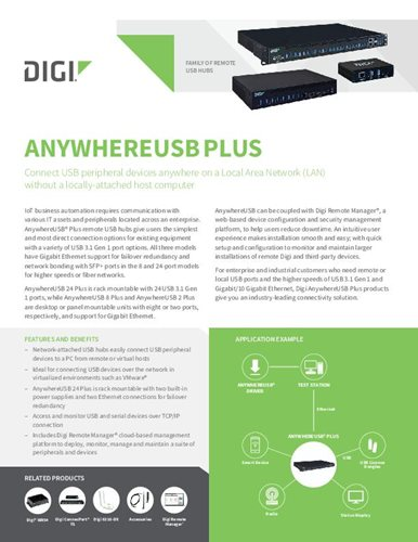 Digi AnywhereUSB Plus Familie Datenblatt