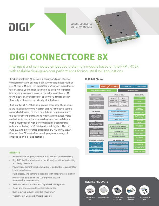Digi ConnectCore 8X Datenblatt