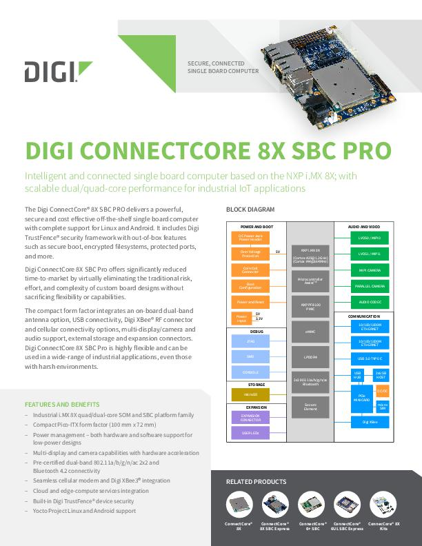 Digi ConnectCore 8X SBC Pro Datenblatt