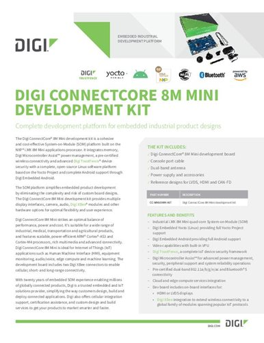 Digi ConnectCore 8M Mini Development Kit Datenblatt