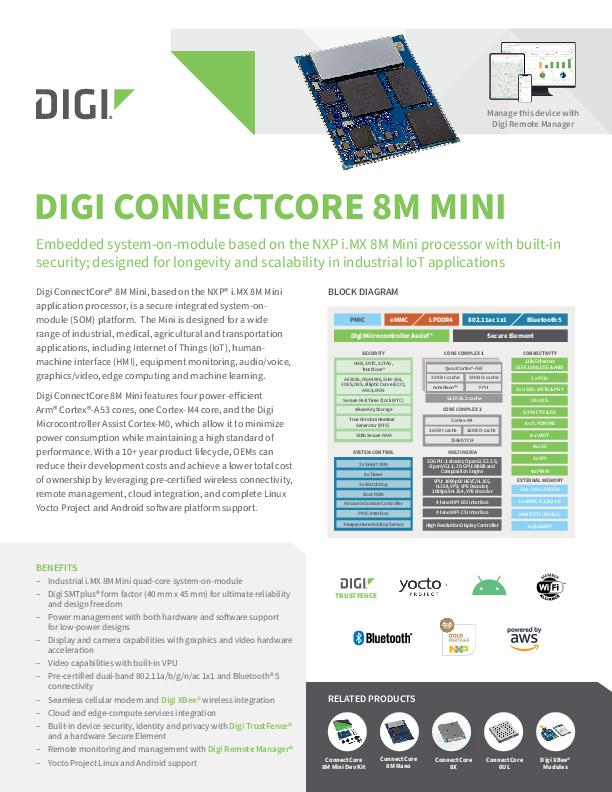 Digi ConnectCore 8M Mini Datenblatt