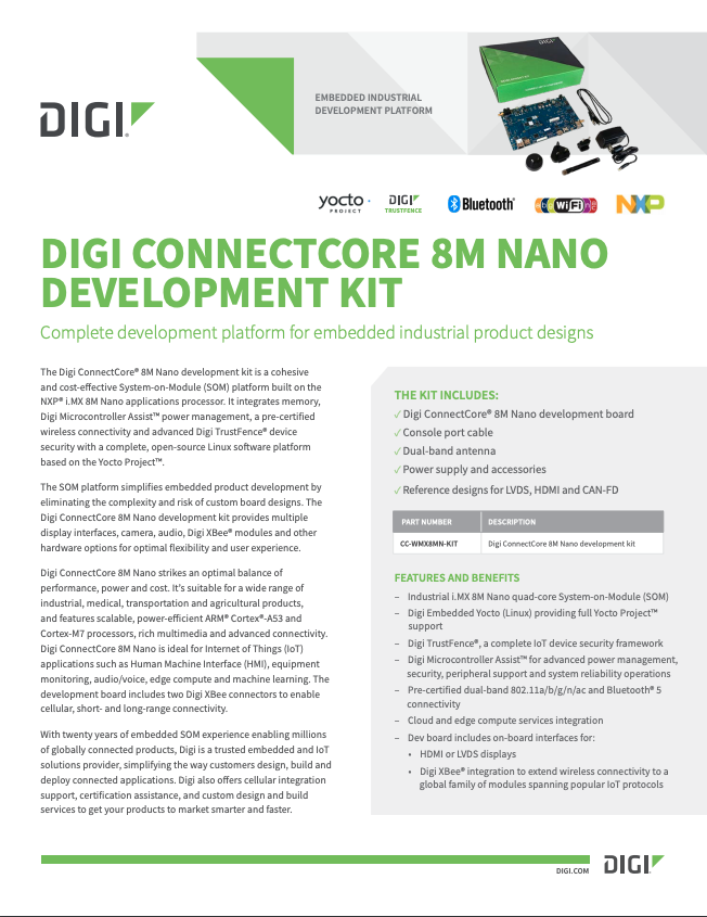 Digi ConnectCore 8M Nano Development Kit Datenblatt