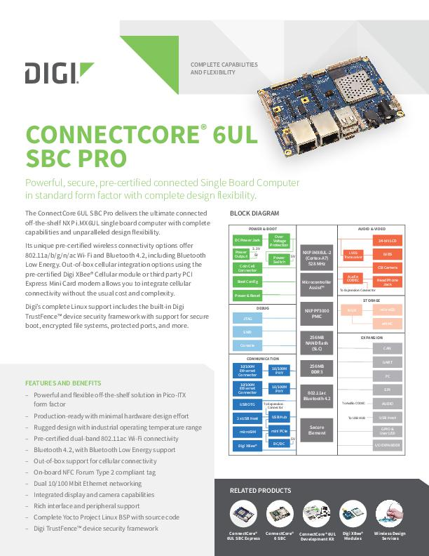 Digi ConnectCore 6UL SBC Pro Datenblatt
