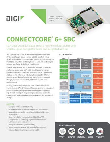 Digi ConnectCore 6+ SBC-Datenblatt