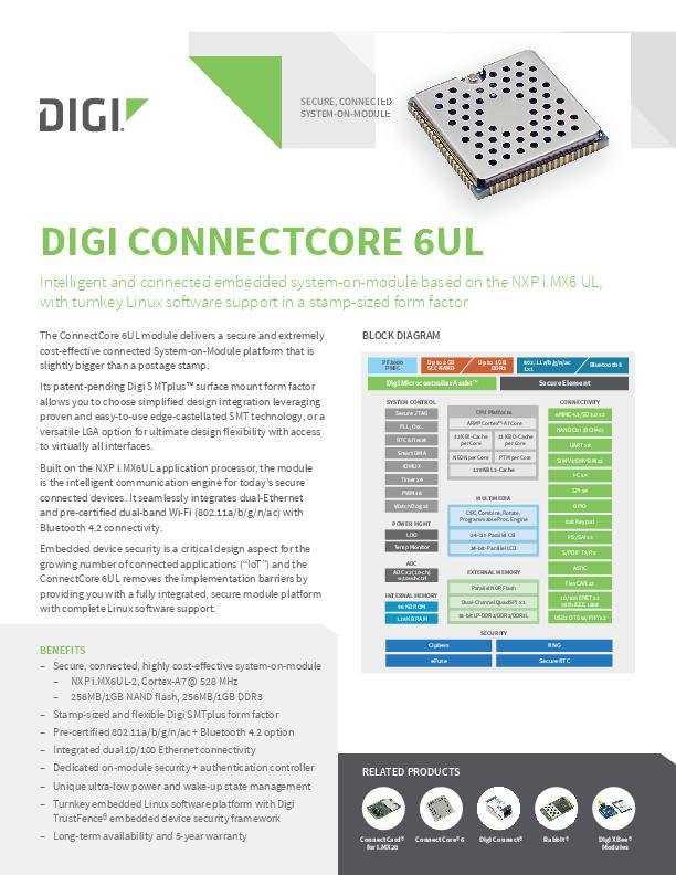 Digi ConnectCore 6UL Datenblatt
