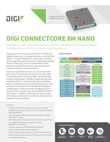 Digi ConnectCore 8M Nano Datenblatt
