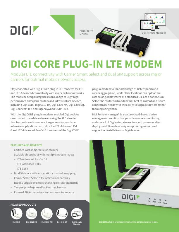 Digi CORE Plug-in LTE Modem Datenblatt