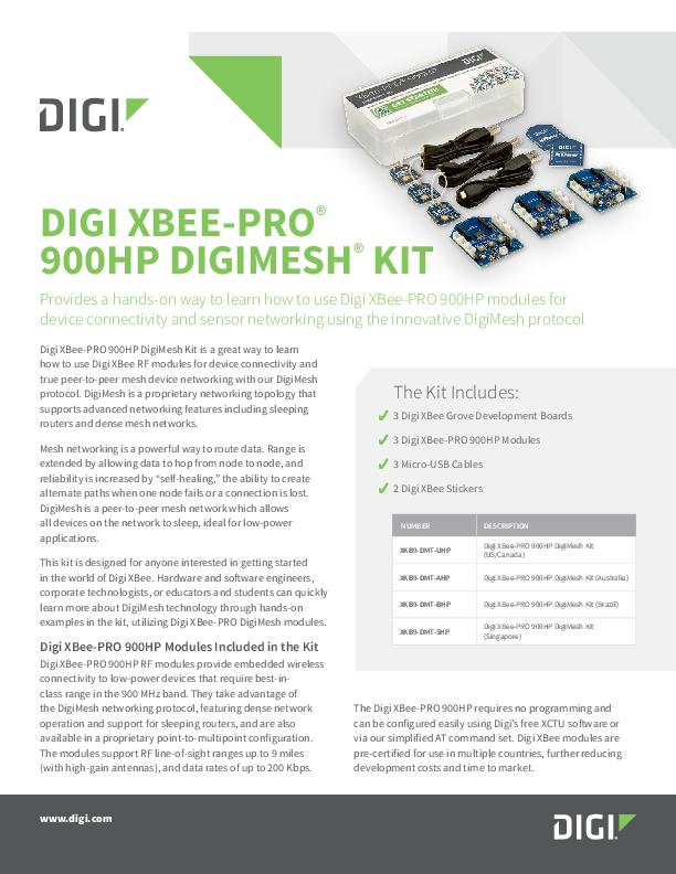Digi XBee-PRO 900HP DigiMesh Kit Datenblatt
