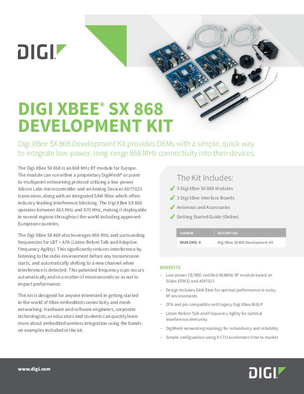 Digi XBee SX 868 Development Kit Datenblatt