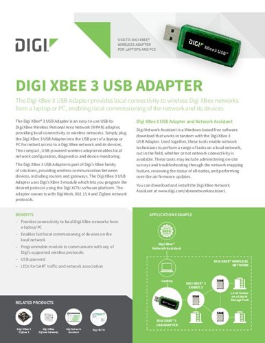 Digi XBee 3 USB Adapter Datenblatt