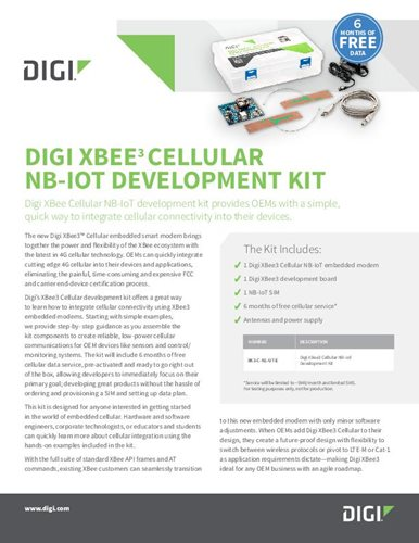 Digi XBee3 Mobilfunk NB-IoT Development Kit Datenblatt