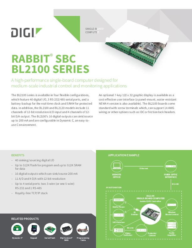 Rabbit SBC BL2100 Serie Datenblatt