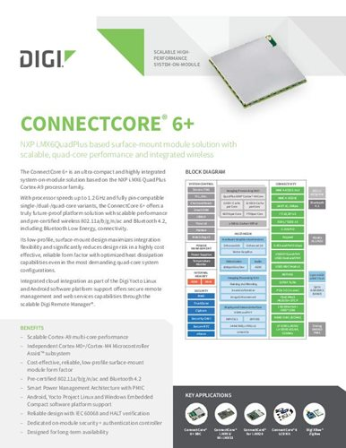 Digi ConnectCore 6+ Datenblatt