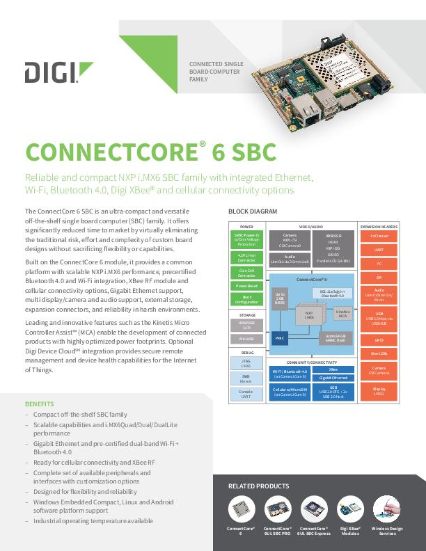 Digi ConnectCore 6 SBC-Datenblatt