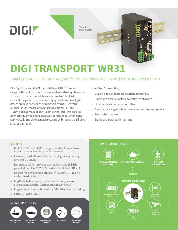 Digi TransPort WR31 Datenblatt