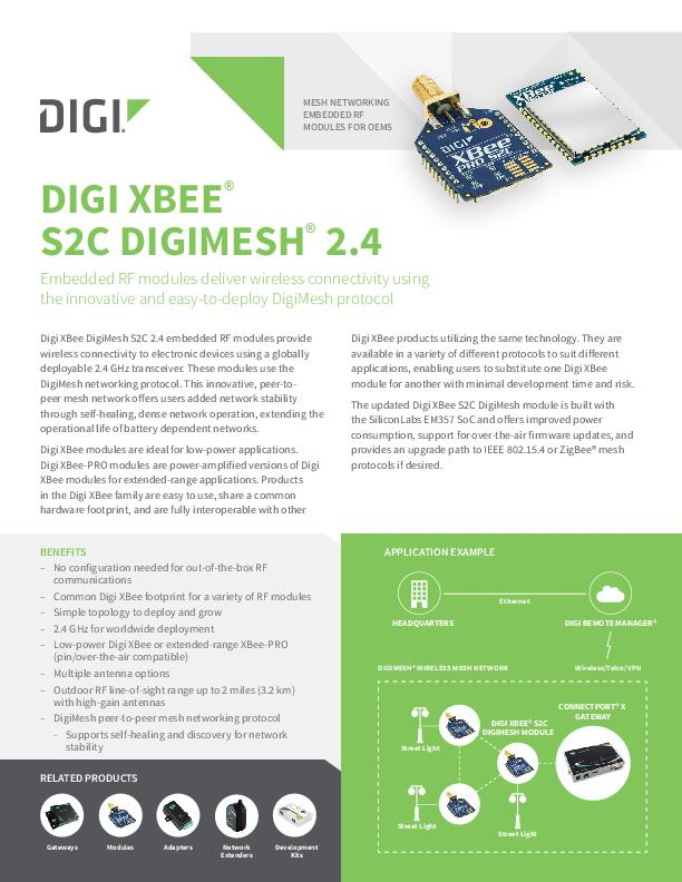 Digi XBee S2C DigiMesh 2.4 Datenblatt