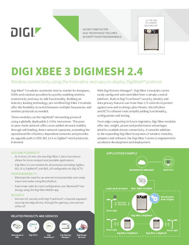 Digi XBee 3 DigiMesh 2.4 Datenblatt