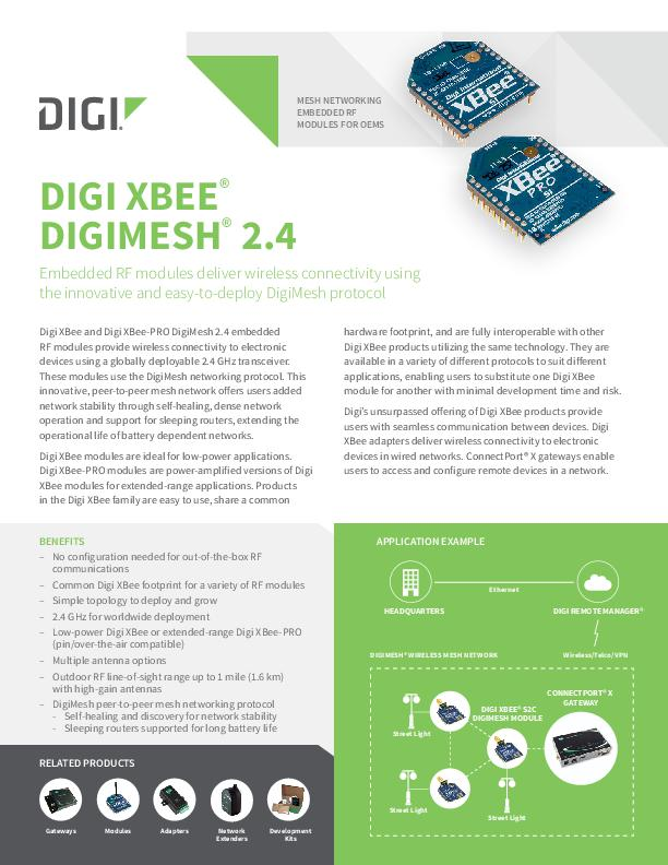 XBee DigiMesh 2.4 Legacy-Datenblatt