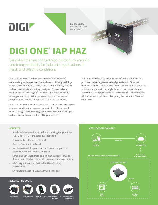 Digi One IAP HAZ-Datenblatt